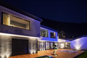Exterior of luxurious modern villa in the night